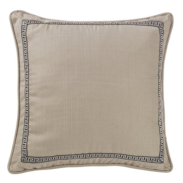 HiEnd Accents Linen Euro Sham With Greek Key Trim