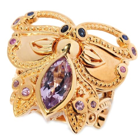 Michael Valitutti Palladium Silver Etruscan Collection Pink Amethyst & Sapphire Butterfly Ring