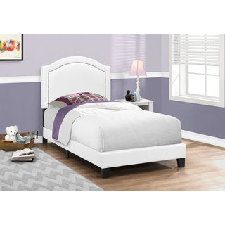 White Upholstered Twin Size Contemporary Bed