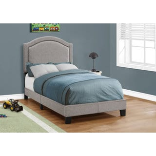 Twin-size Grey Linen with Chrome Trim Bed