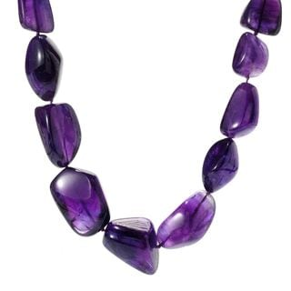 Michael Valitutti Palladium Silver Freeform Purple Amethyst Toggle Necklace