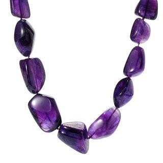 Michael Valitutti Palladium Silver Freeform Purple Amethyst Toggle Necklace