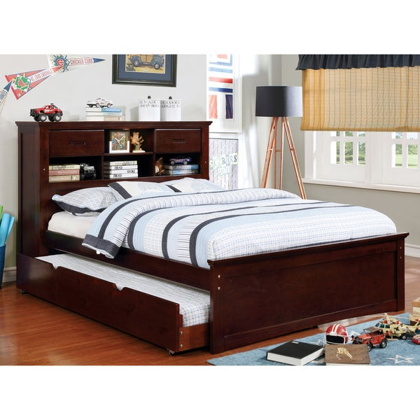 ef33b4dc1564 Paige Modern Dark Walnut Bookcase Headboard Platform Bed by FOA. Click to  Zoom