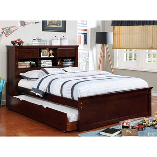 Furniture of America Paige Dark Walnut Bookcase Headboard Platform Bed