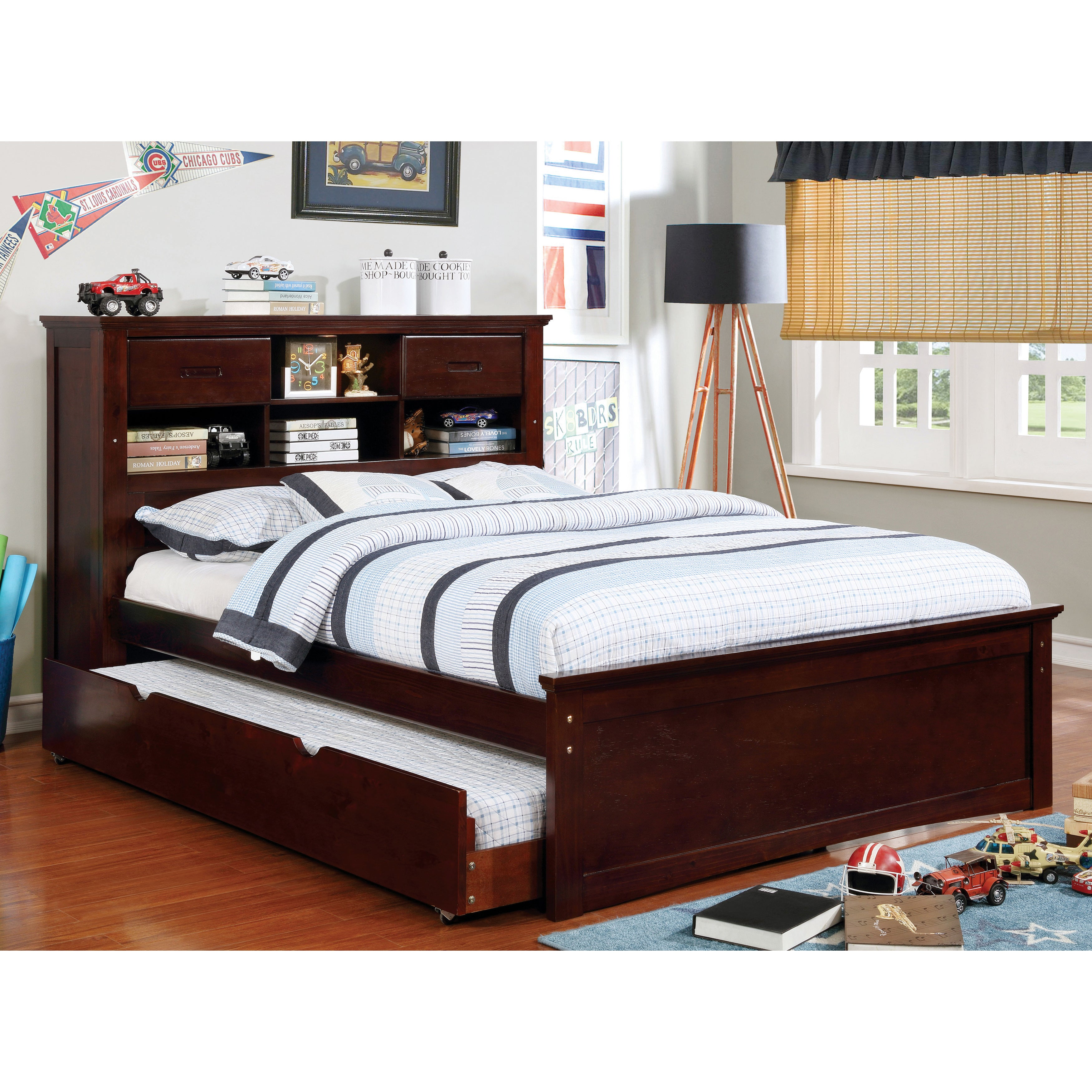 Furniture Of America Tae Modern Walnut Bookcase Platform Bed