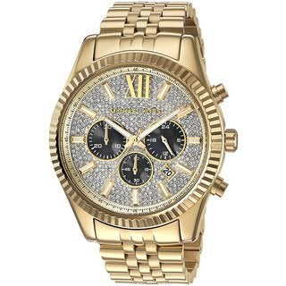Michael Kors Men's Lexington Chronograph Crystal Pave Dial Gold-Tone Stainless Steel Watch - Gold