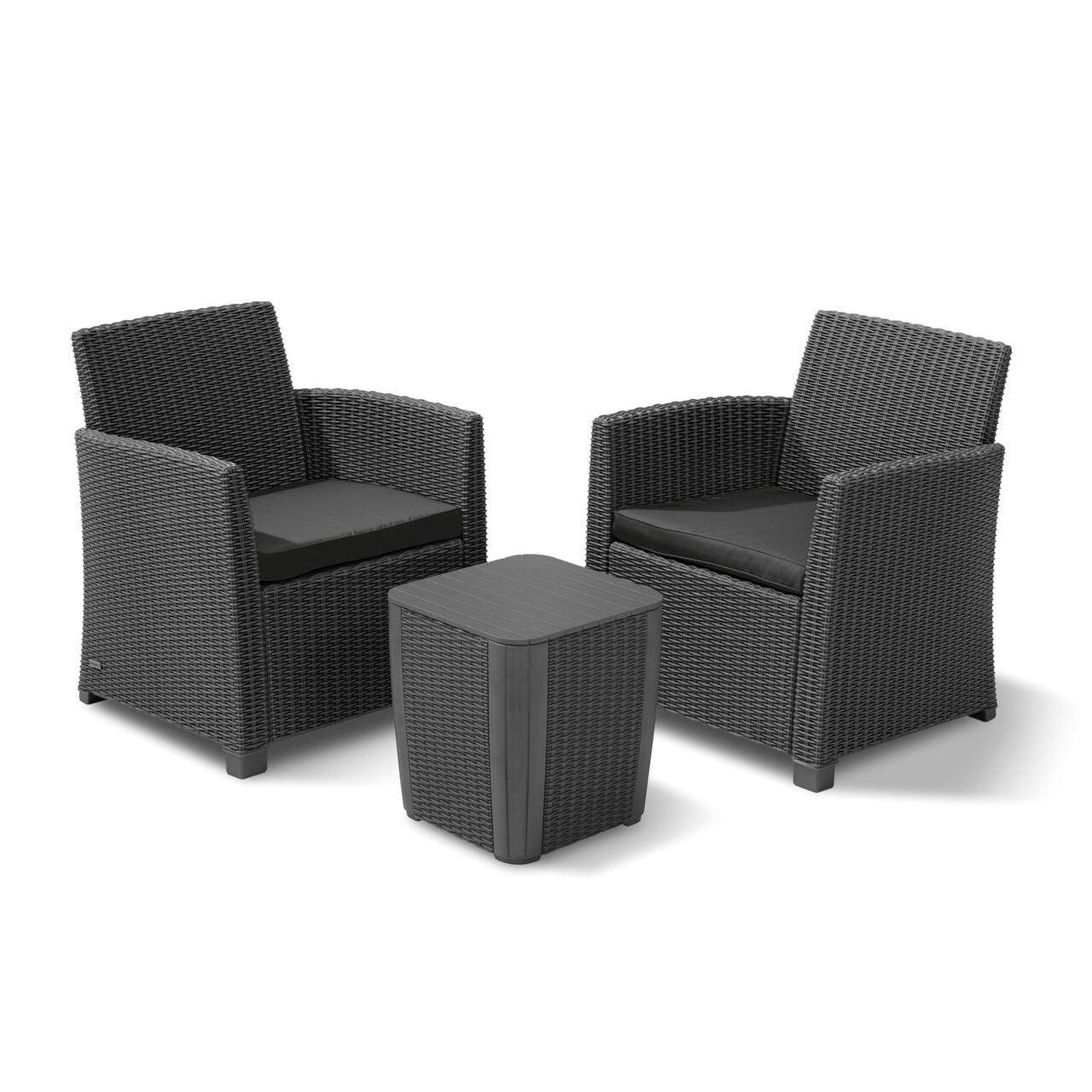 Corona Grey Resin and Fabric 3-piece Balcony Set (Graphit...