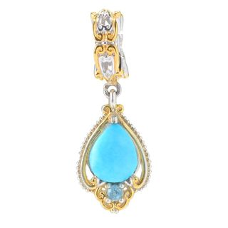 Michael Valitutti Palladium Silver Pear Arizona Turquoise & Sky Blue Topaz Drop Charm