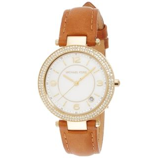 Michael Kors Women's MK2464 'Mini Parker' Crystal Brown Leather Watch