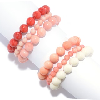 Michael Valitutti Palladium Silver Multi Color Bamboo Coral Three-Row Bracelet w/ Magnetic Clasp