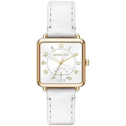 470d7f4996e7 Shop Michael Kors Women s MK2677  Brenner  White Leather Watch - Free  Shipping Today - Overstock - 15950659