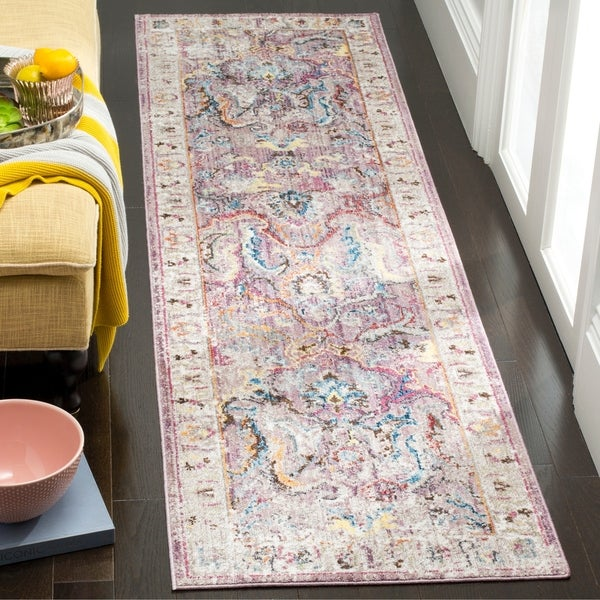 shop safavieh bristol transitional purple grey polyester runner rug 2 39 3 x 8 39 on sale. Black Bedroom Furniture Sets. Home Design Ideas