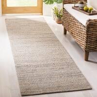 Safavieh Hand-Woven Cape Cod Grey / Sand Cotton Runner (2' 3 x 8')