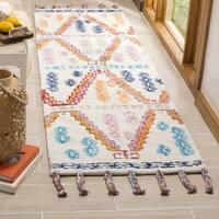 Safavieh Casablanca Handmade Moroccan Flokati Ivory / Multi Wool Runner (2' 3 x 8')