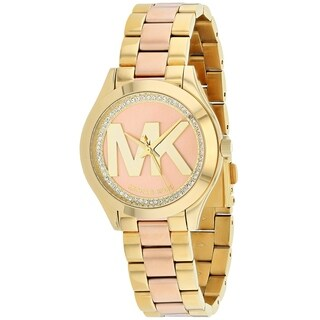 Michael Kors Women's MK3650 'Mini Slim Runway' Crystal MK Logo Two-Tone Stainless Steel Watch