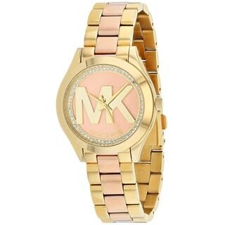 Michael Kors Women's 'Mini Slim Runway' Crystal MK Logo Two-Tone Stainless Steel Watch