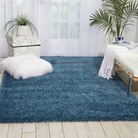 Nourison Amore Slate Blue Shag Area Rug - 7'10 x 10'10