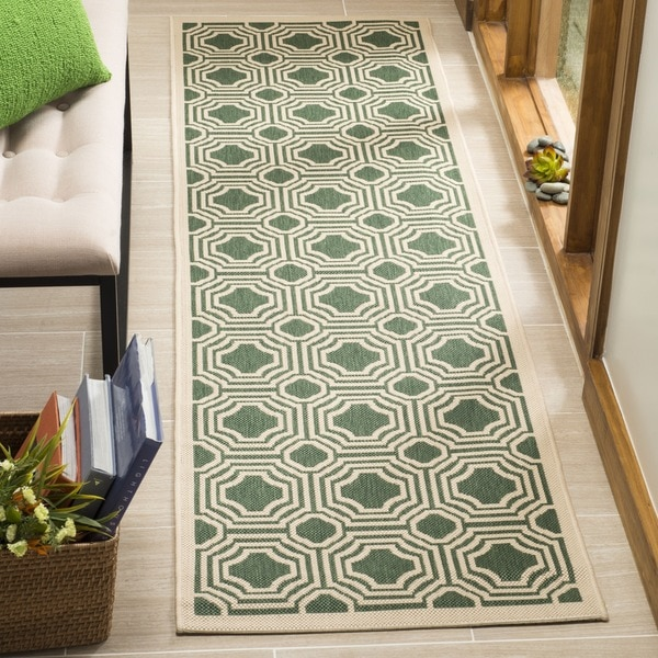 Safavieh Indoor / Outdoor Moroccan Courtyard Dark Green / Beige Runner Rug - 2'3 x 8'