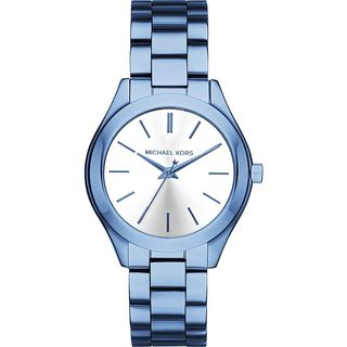 Michael Kors Women's MK3674 'Mini Slim Runway' Blue Stainless Steel Watch