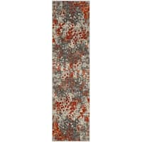 Safavieh Monaco Abstract Watercolor Grey / Orange Runner (2' 2 x 8')