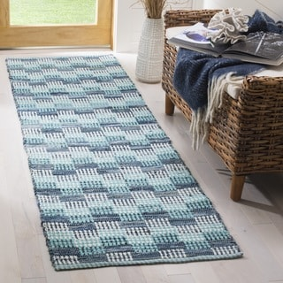 Safavieh Hand-Woven Montauk Flatweave Turquoise / Multicolored Cotton Runner (2' x 8')