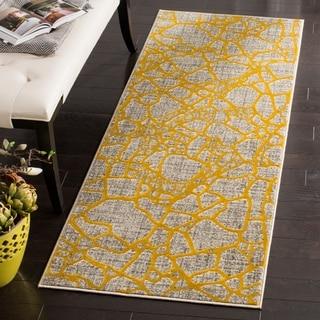 Safavieh Porcello Modern Abstract Light Grey/ Yellow Runner Rug (2'4 x 6'7)