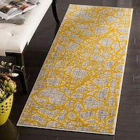 "Safavieh Porcello Modern Abstract Light Grey/ Yellow Runner Rug - 2'4"" x 6'7"""