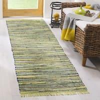 "Safavieh Hand-Woven Rag Cotton Runner Light Green / Multicolored Cotton Runner - 2'3"" x 8'"