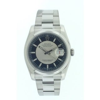 Pre-Owned Rolex Unisex Datejust Stainless Steel Silver/Black Dial 36mm Watch 116200