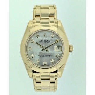 Pre-Owned Rolex Datejust Pearlmaster, Ladies, Yellow Gold, Mother of Pearl Diamond Dial, 34 mm Watch