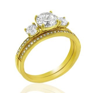 .925 Sterling Silver Gold Plated Cubic Zirconia Three-Stone Round Cut Two Piece Bridal Set Ring