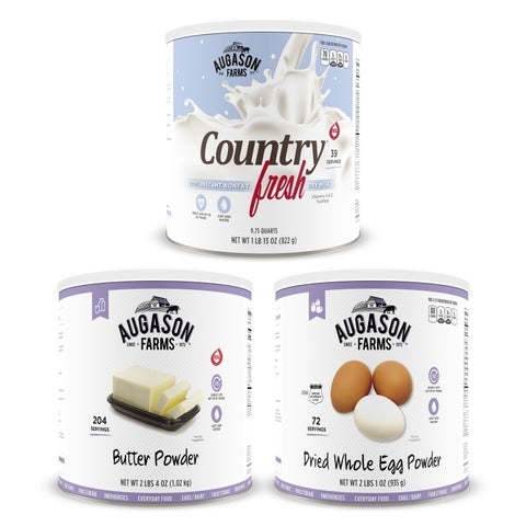 Augason Farms Food Dairy & Egg Combo Kit No. 10 Can 3-Pack