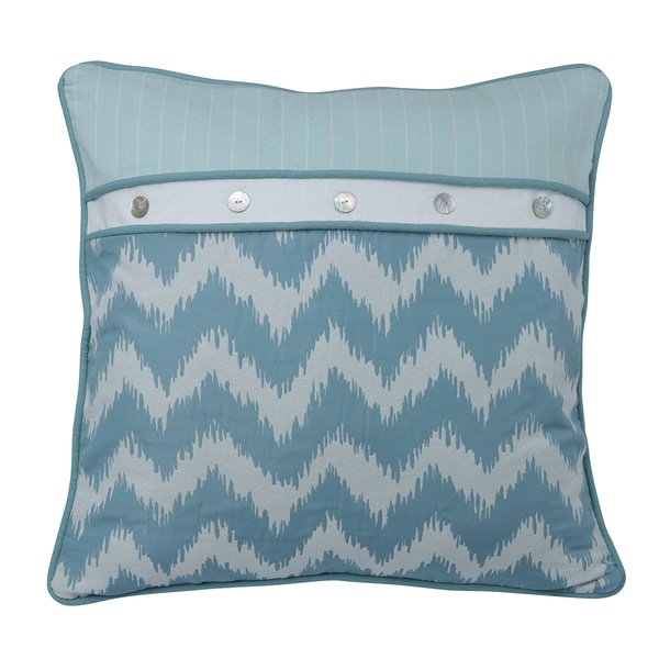 HiEnd Accents Chevron Print Euro Sham With Striped Accents And Button