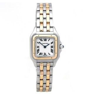 Pre-owned Small 18k Yellow Gold and Stainless Steel Cartier Panthere Watch