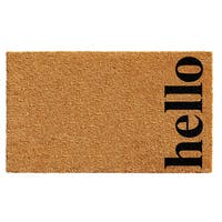 Natural/Black 17 x 29-inch Vertical Hello Doormat