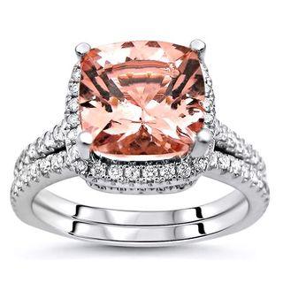 Noori 14k White Gold 2 1/2ct TGW Cushion-cut Morganite Diamond Engagement Ring Bridal Set (G-H, SI2-I1)