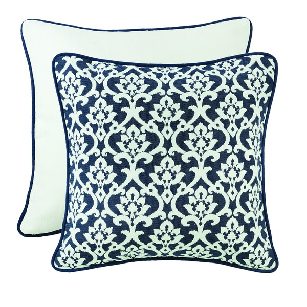 HiEnd Accents Navy And White Floral Jaquard Euro With Piping Detail