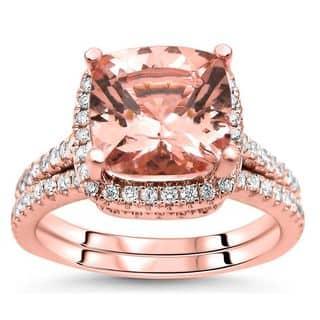 Noori 14k Rose Gold 2 1/2ct TGW Cushion-cut Morganite Diamond Engagement Ring Bridal Set (G-H, SI2-I1) - White|https://ak1.ostkcdn.com/images/products/15951262/P22350589.jpg?impolicy=medium