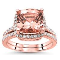 Noori 14k Rose Gold 2 1/2ct TGW Cushion-cut Morganite Diamond Engagement Ring Bridal Set (G-H, SI2-I1) - White