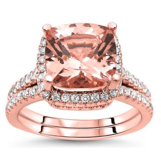 Noori 14k Rose Gold 2 1/2ct TGW Cushion-cut Morganite Diamond Engagement Ring Bridal Set (G-H, SI2-I1) - White