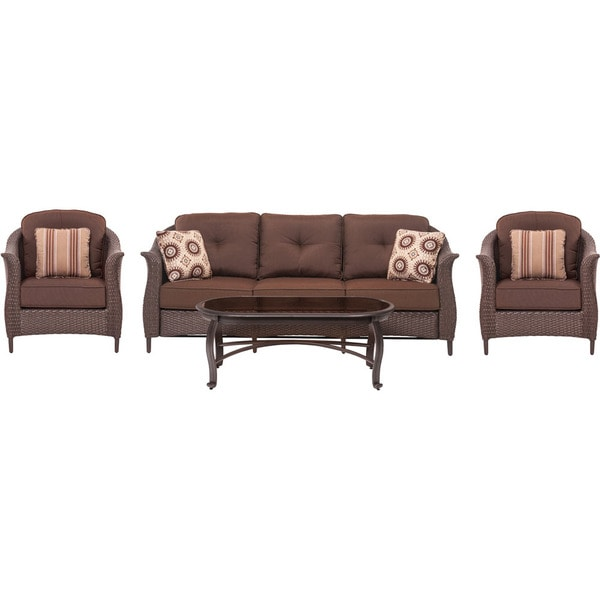 Shop Cambridge Coral Bay Brown 4 Piece Wicker Patio