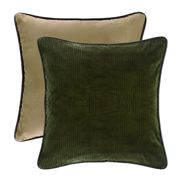 HiEnd Accents Green Corduroy Euro Sham Reversed To Tan Suede