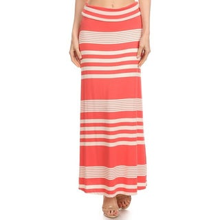 Women's Striped Coral Maxi Skirt