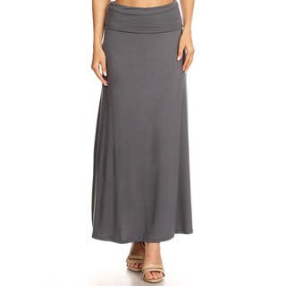 Women's Solid Charcoal Maxi Skirt|https://ak1.ostkcdn.com/images/products/15951412/P22350623.jpg?impolicy=medium