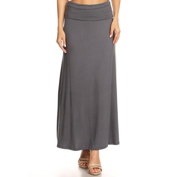 Women's Solid Charcoal Maxi Skirt