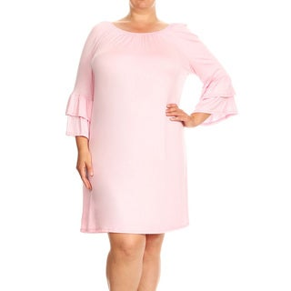Women's Plus Size Solid Pink Sheath Dress