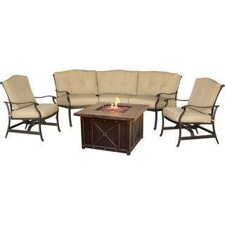 Cambridge Concord Metal 4-piece Conversation Set with Tan Cushions and 40-inch Durastone Fire Pit