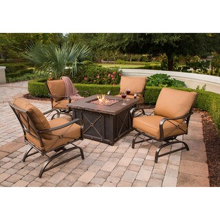 Cambridge Classic Brown Metal 5-piece Fire Pit Lounge Set
