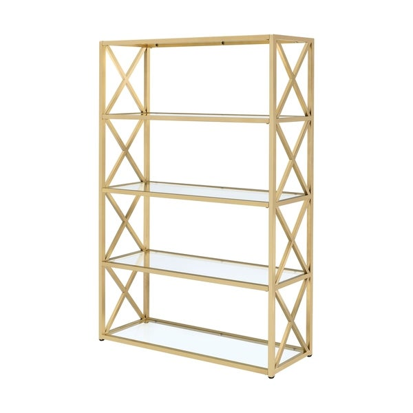 shop acme furniture milavera goldtone metal and glass bookshelf free shipping today. Black Bedroom Furniture Sets. Home Design Ideas