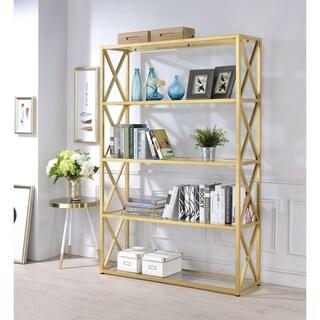 Acme Furniture Milavera Goldtone Metal and Glass Bookshelf